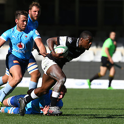 DURBAN, SOUTH AFRICA, 27 August, 2016 - Mfundo Ndlovu of the Cell C Sharks Under 19's hands off Boeta Hamman (c) of the Vodacom Blue Bulls U19 during the match between The Cell C Sharks U19 and the Blue Bulls U19, Currie Cup Under 19 Competition at Growthpoint Kings Park in Durban, South Africa. (Photo by Steve Haag)<br /> <br /> images for social media must have consent from Steve Haag