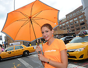 AccuWeather MinuteCast street team member outside Clarkson Square during New York Fashion Week