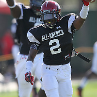 De'Ante Saunders celebrates a turnover during the practice session at the Walt Disney Wide World of Sports Complex in preparation for the Under Armour All-America high school football game on December 3, 2011 in Lake Buena Vista, Florida. (AP Photo/Alex Menendez)