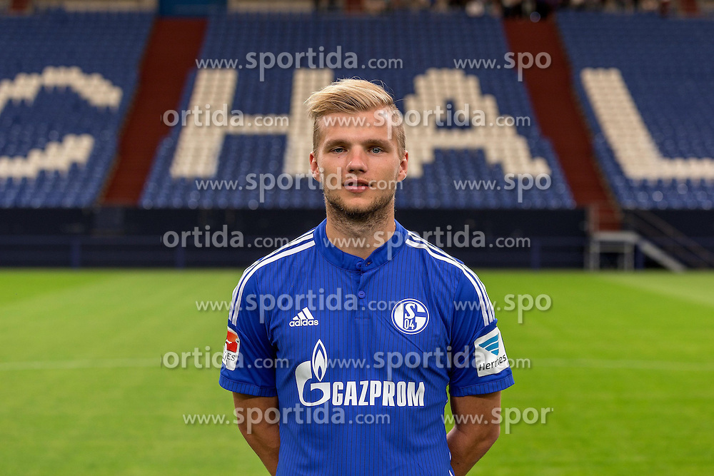 23.06.2015, Veltins-Arena, Gelsenkirchen, GER, 1. FBL, Schalke 04, Fototermin, im Bild Johannes Geis (Schalke) // during the official Team and Portrait Photoshoot of German Bundesliga Club Schalke 04 at the Veltins-Arena in Gelsenkirchen, Germany on 2015/06/23. EXPA Pictures &copy; 2015, PhotoCredit: EXPA/ Eibner-Pressefoto/ Hommes<br /> <br /> *****ATTENTION - OUT of GER*****