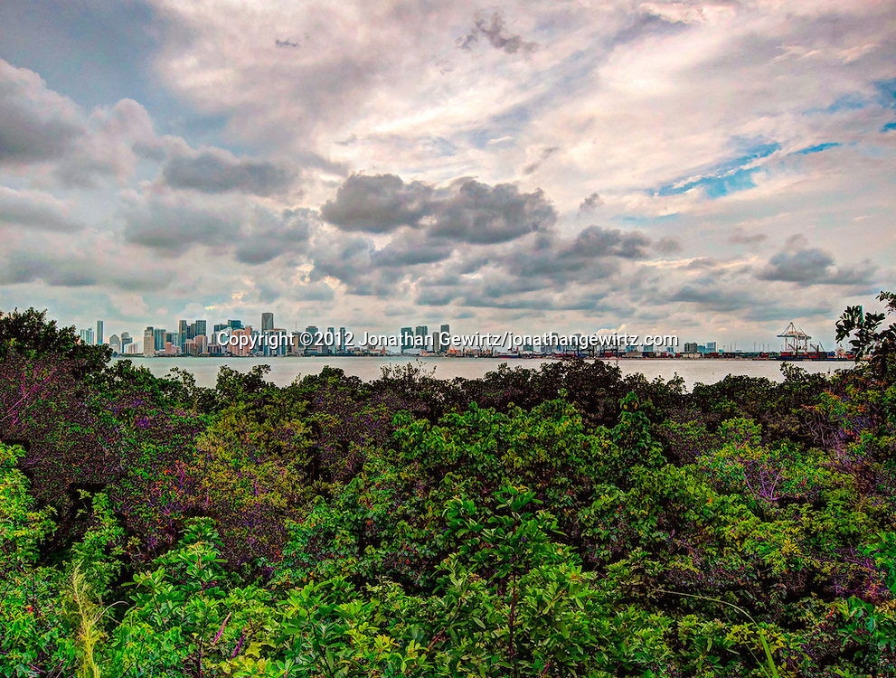 HDR composite view of downtown Miami, Florida and the Port of Miami as seen from Virginia Key. WATERMARKS WILL NOT APPEAR ON PRINTS OR LICENSED IMAGES.