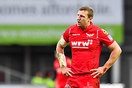 Scarlets' Hadleigh Parkes in action during todays game<br /> <br /> Photographer Simon King/Replay Images<br /> <br /> EPCR Champions Cup Round 3 - Scarlets v Benetton Rugby - Saturday 9th December 2017 - Parc y Scarlets - Llanelli<br /> <br /> World Copyright © 2017 Replay Images. All rights reserved. info@replayimages.co.uk - www.replayimages.co.uk