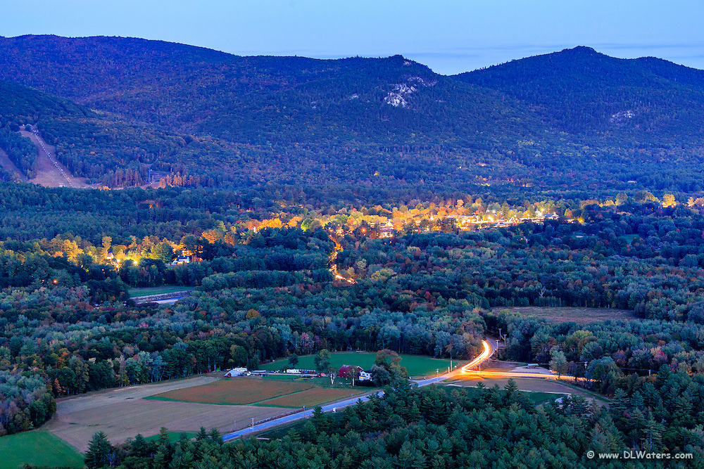 Long exposure over looking North Conway, NH from Cathedral Ledge .