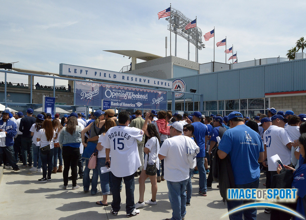 Apr 4, 2014; Los Angeles, CA, USA; General view of Los Angeles Dodgers fans arriving before the 2014 season home opening game against the San Francisco Giants at Dodger Stadium.