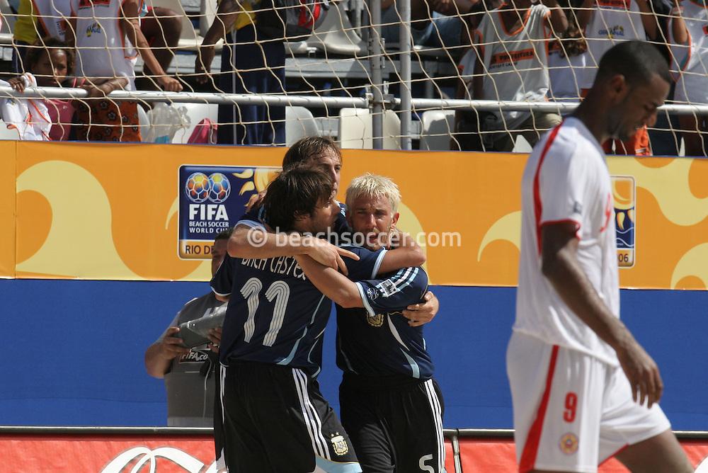 Footbal-FIFA Beach Soccer World Cup 2006 -  Oficial Games BHR x ARG - Hilaire celebrate the victory agains Bahrain- Brazil - 04/11/2006.<br />Mandatory Credit: FIFA/Ricardo Ayres