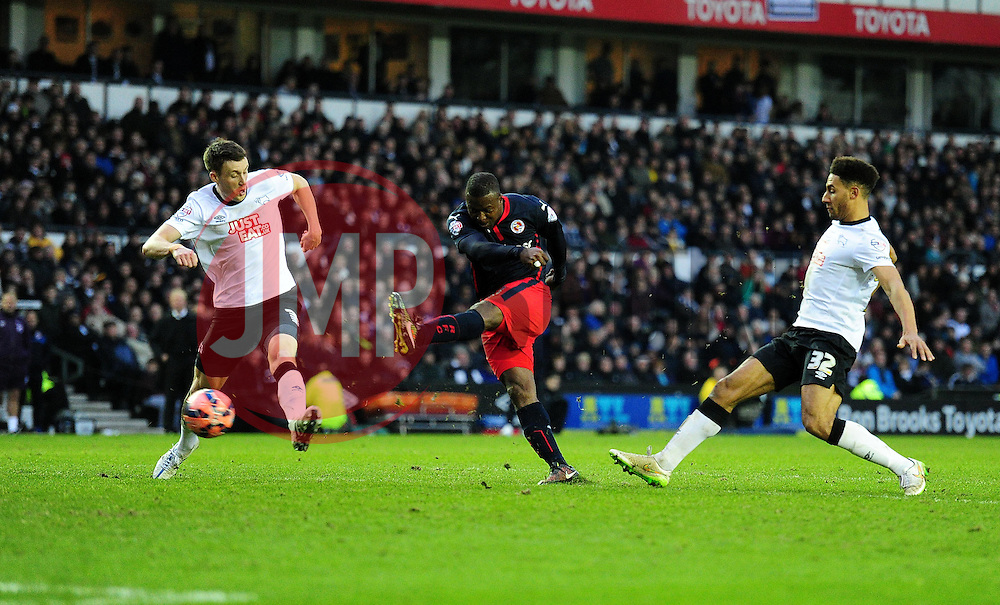 Reading's Yakubu Aiyegbeni scores to make it 2-1 - Photo mandatory by-line: Alex James/JMP - Mobile: 07966 386802 - 14/02/2015 - SPORT - Football - Derby  - ipro stadium - Derby County v Reading - FA Cup - Fifth Round