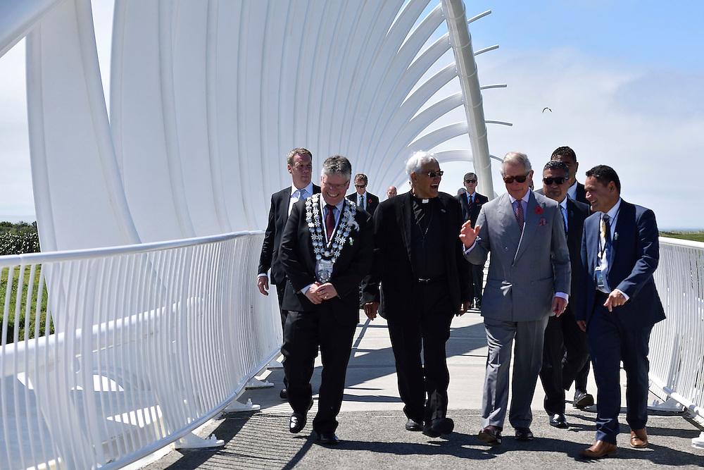 Prince Charles, Prince of Wales, walks over the Te Rewa Rewa bridge, part of the Coastal Walkway on the coastal walkway, New Plymouth, New Zealand, New Zealand, Monday, November 09, 2015. Credit:SNPA / AFP, Marty Melville  **POOL**