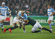 Argentina's Javier Ortega Desio with an Argentinian attack during the Rugby World Cup Bronze Final match between South Africa and Argentina at the Queen Elizabeth II Olympic Park, London, United Kingdom on 30 October 2015. Photo by Matthew Redman.