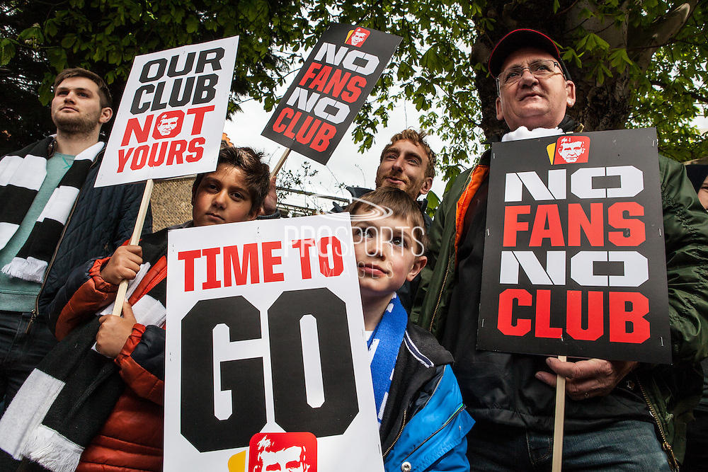 Charlton & Brighton fans march in protest against Charlton Director Roland Duchâtelet  before the Sky Bet Championship match between Charlton Athletic and Brighton and Hove Albion at The Valley, London, England on 23 April 2016. Photo by Bennett Dean.