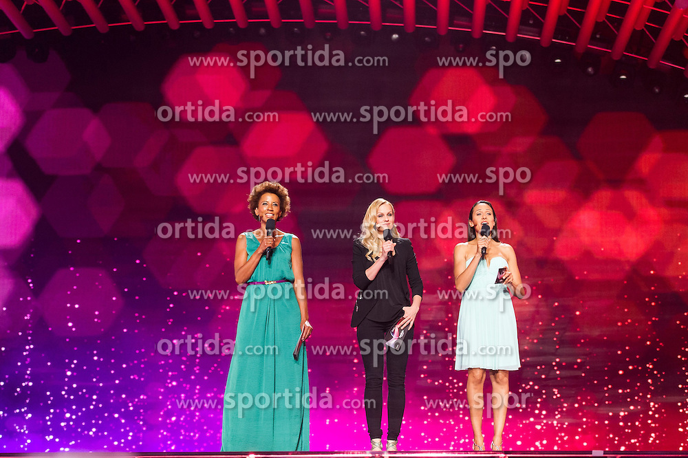18.05.2015, Stadthalle, Wien, AUT, Eurovision Songcontest Vienna 2015, Kostümrpobe des Ersten Semifinales, im Bild Die ESC- Moderatorinnen Arabella Kiesbauer, Mirjam Weichselbraun und Alice Tumler // the moderators for the ESC Arabella Kiesbauer, Mirjam Weichselbraun und Alice Tumler during dress rehearsal of the 1st semi final for Eurivision Songcontest Vienna 2015 at Stadthalle in Vienna, Austria on 2015/05/18, EXPA Pictures © 2015, PhotoCredit: EXPA/ Michael Gruber