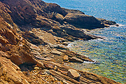 Rocky coastline along the Gulf of St. Lawrence. Cabot Trail. Cape Breton Island. Appalachian Mountain chain.  <br />