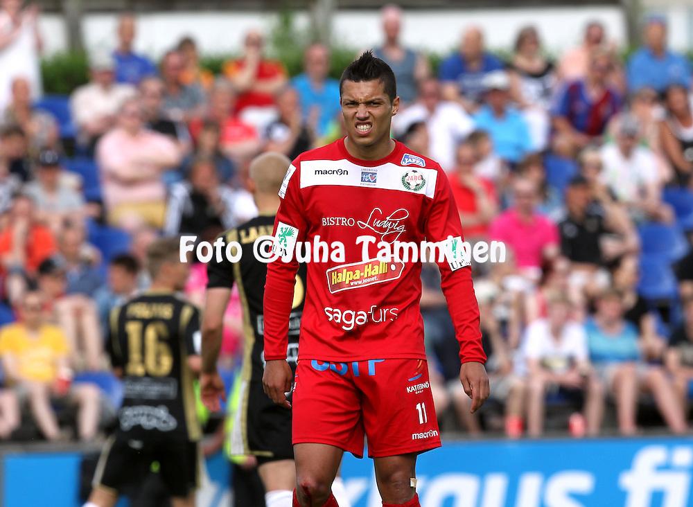 23.5.2014, Keskuskentt&auml;, Sein&auml;joki.<br /> Veikkausliiga 2014.<br /> Sein&auml;joen Jalkapallokerho - FF Jaro.<br /> Hendrik Helmke - Jaro