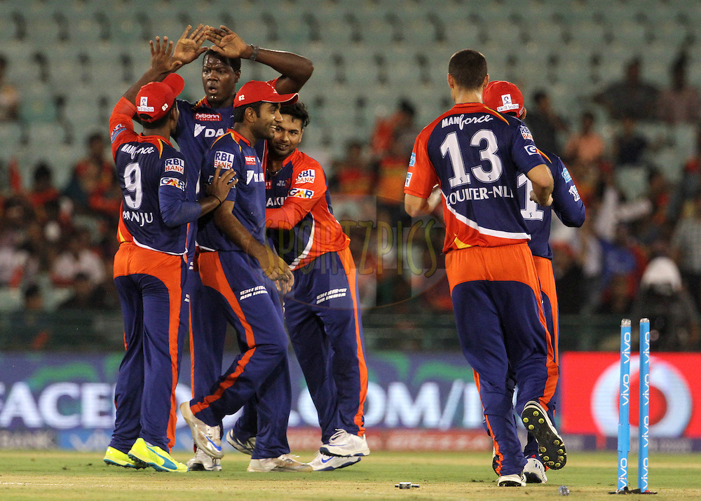 Delhi Daredevils players celebrates the wicket of Sunrisers Hyderabad player Shikhar Dhawan during match 52 of the Vivo Indian Premier League ( IPL ) between the Delhi Daredevils and the the Sunrisers Hyderabad held at the Shaheed Veer Narayan Singh International Cricket Stadium, Naya Raipur, India on the 20th May 2016<br /> <br /> Photo by Vipin Pawar / IPL/ SPORTZPICS