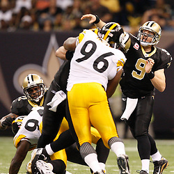 Oct 31, 2010; New Orleans, LA, USA; New Orleans Saints quarterback Drew Brees (9) throws a pass against the Pittsburgh Steelers during the second half at the Louisiana Superdome. The Saints defeated the Steelers 20-10.  Mandatory Credit: Derick E. Hingle..