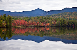 Fall color -- sugar maples -- on the shores of an unnamed lake, off Highway 113, south of Conway, New Hampshire.