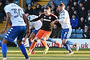 Sheffield United Forward, Caolan Lavery (9) and Bury Midfielder and new signing, Jack Mackreth (37)  during the EFL Sky Bet League 1 match between Bury and Sheffield Utd at the JD Stadium, Bury, England on 2 January 2017. Photo by Mark Pollitt.