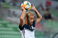 MELBOURNE, VIC - MARCH 05: Keisuke Honda (4) of Melbourne Victory looks to throw in the ball during the AFC Champions League soccer match between Melbourne Victory and Daegu FC on March 05, 2019 at AAMI Park, VIC. (Photo by Speed Media/Icon Sportswire)