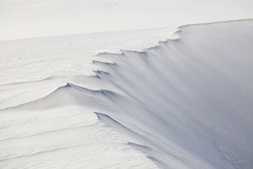 Detail of a white sand dune in White Sands National Monument, New Mexico.