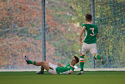 EDINBURGH, SCOTLAND - Tuesday, November 1, 2016: Republic of Ireland's Barry Coffey celebrates scoring the second goal against Northern Ireland during the Under-16 2016 Victory Shield match at ORIAM. (Pic by David Rawcliffe/Propaganda)