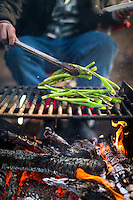 Dan Shepelavy, of Philadelphia, grills scallions over a campfire in preparation for the Negimaki he was making during a camping trip with friends at Wharton State Forest in New Jersey on February 7, 2015.