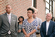 17 August- New York, NY:  (L-R) U.S. Congressman Hakeem Jeffries and New York City Council Candidiate Laurie Cumbo, and New York City Council Member Jimmy Van Bramer attends the endorsement announcement by U.S.Congressman Hakeem Jeffries of Laurie Cumbo for City Council District 35 held at the Laurie Cumbo Campaign Headquarters in Prospect Hieghts section of Brooklyn, NY on August 17, 2013 in New York City. © Terrence Jennings