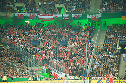 MONCHENGLADBACH, GERMANY - Wednesday, October 15, 2008: Wales supporters during the 2010 FIFA World Cup South Africa Qualifying Group 4 match against Germany at the Borussia-Park Stadium. (Photo by David Rawcliffe/Propaganda)