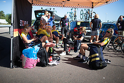 Quiet moments at the Team Sweden tent before the start of the 117,5 km third stage of the 2016 Ladies' Tour of Norway women's road cycling race on August 13, 2016 between Svinesund, Sweden and Halden, Norway. (Photo by Balint Hamvas/Velofocus)