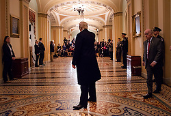 March 26, 2019 - Washington, District of Columbia, U.S. - President DONALD TRUMP waves to a crowd of reporters after attending a Senate Republican luncheon Tuesday, March 26, 2019, as he leaves the U.S. Capitol in Washington, D.C. (Credit Image: © White House/ZUMA Wire/ZUMAPRESS.com)