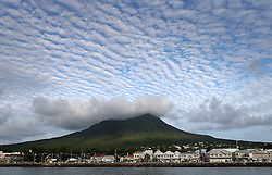 Cloud formations over the volcanic peak on Nevis on the fourth day of an official by Prince Harry in Port Zante, St Kitts and Nevis, for the second leg of his Caribbean tour.
