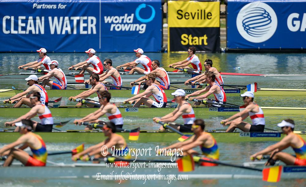 Seville. Andalusia. SPAIN.   Start. LM4-  Lightweight mens four. 2013 FISA European Rowing Championship.  Guadalquivir River.  Friday  31/05/2013.  [Mandatory Credit. Peter Spurrier/Intersport]