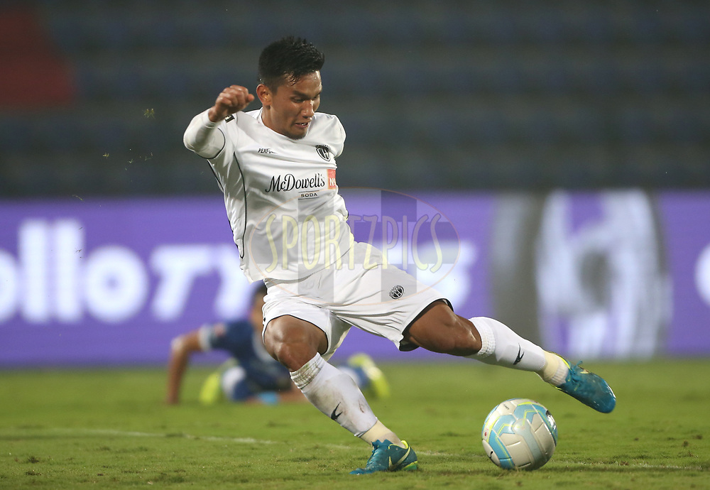 Seiminlen Doungel of Northeast United FC scores a goal during match 51 of the Hero Indian Super League between NorthEast United FC and Chennaiyin FC  held at the Indira Gandhi Athletic Stadium, Guwahati India on the 19th January 2018<br /> <br /> Photo by: Luke Walker / ISL / SPORTZPICS