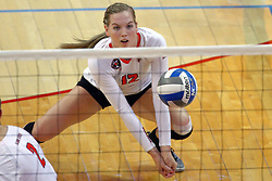 18 November 2016:  Aly Dawson crouches low to dig and incoming strike during an NCAA women's volleyball match between the Northern Iowa Panthers and the Illinois State Redbirds at Redbird Arena in Normal IL (Photo by Alan Look)