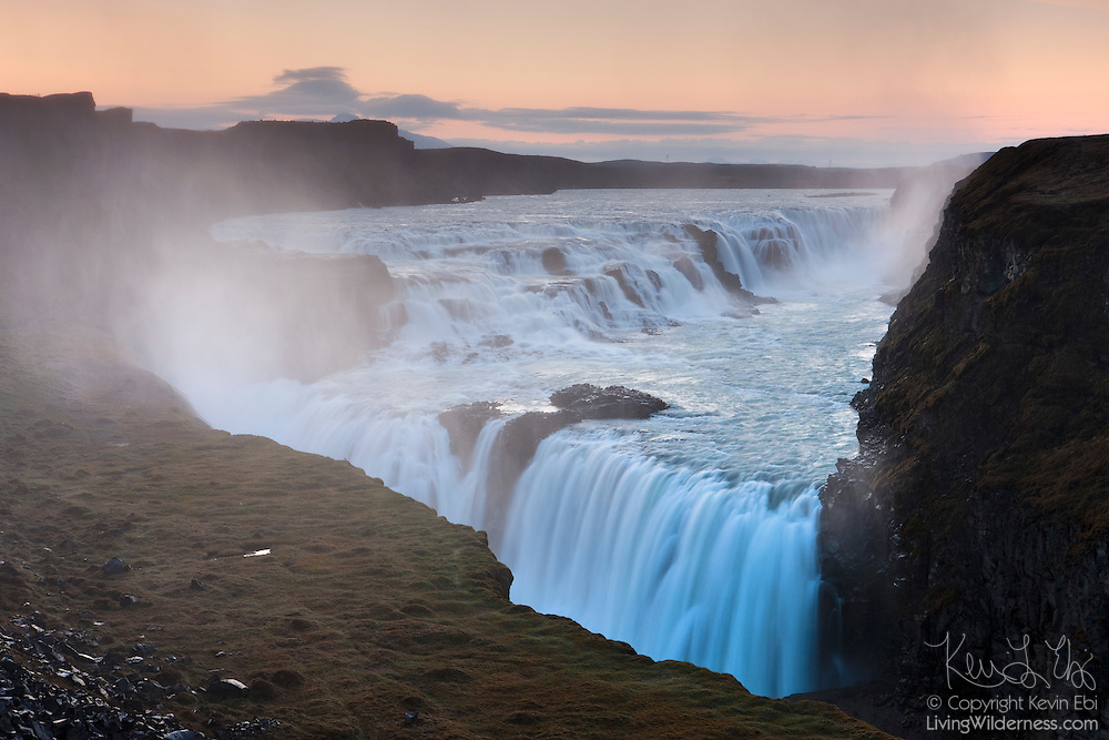 "The Hvítá River drops 105 feet (32 meters) in two tiers into a narrow canyon at Gullfoss, one of Iceland's most popular waterfalls. Gullfoss means ""golden falls."""
