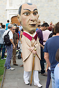 Costumed giant character, Gigantes de Irunako Erraldoiak, in San Fermin Fiesta at Pamplona, Navarre, Northern Spain