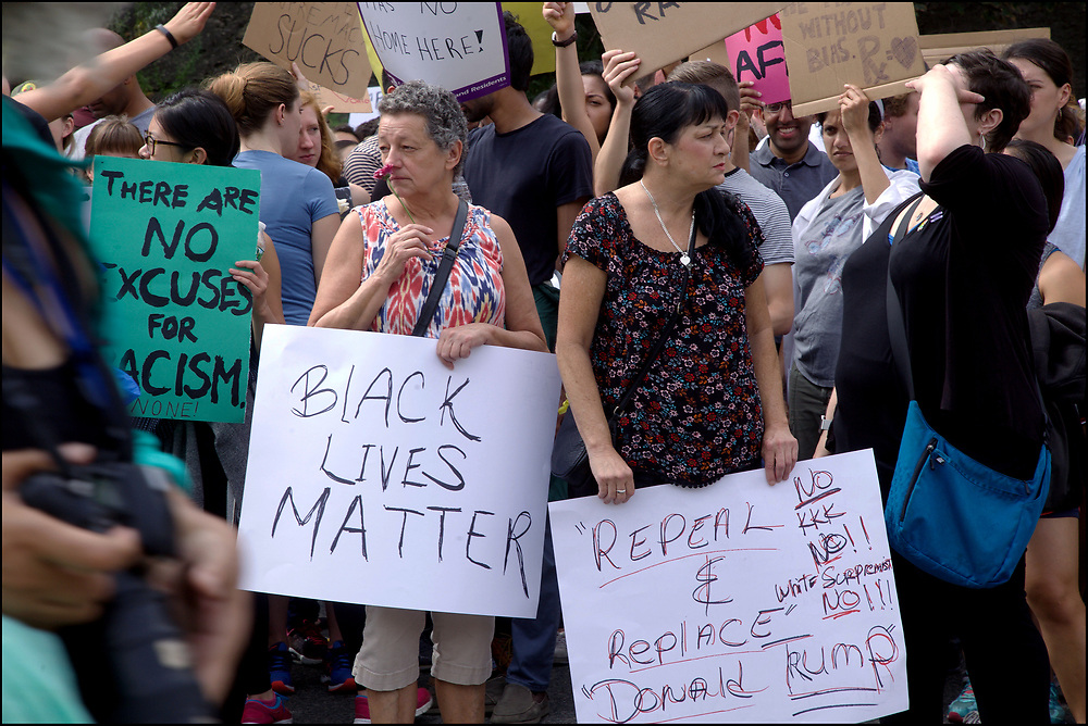 "As many as 40,000 counterprotesters massed and marched against a right-wing ""free speech"" rally in Boston one week after a white-supremacist rally in Charlottesville led to violence that killed one counterprotester and injured dozens more. August 19, 2017"