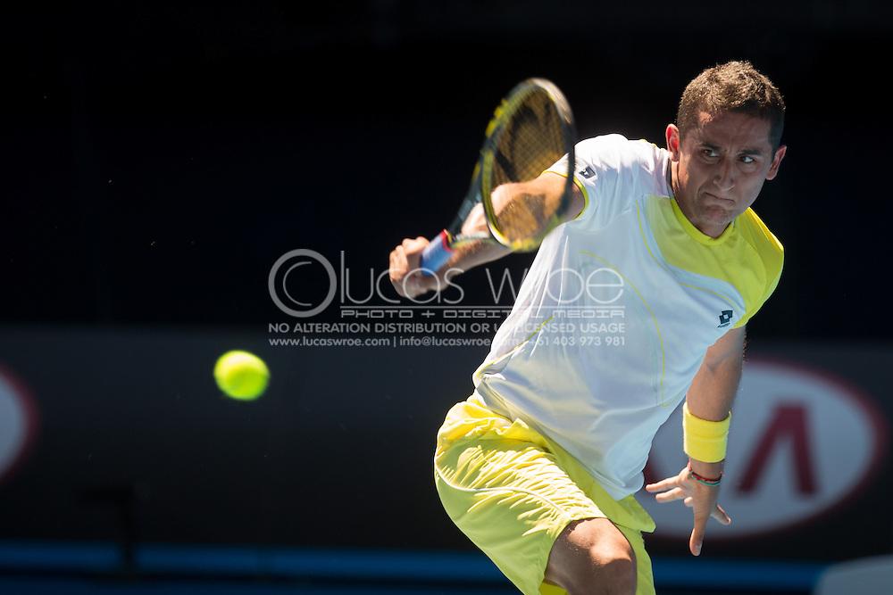 Nicolas Almagro (ESP). Day 8. Round 4. Melbourne Olympic Park, Melbourne, Victoria, Australia. 22/01/2013. Photo By Lucas Wroe