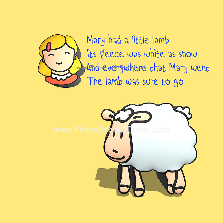 Nursery rhymes and childhood images series: Mary had a little lamb, Its fleece was white as snow, Everywhere that Mary went<br /> The lamb was sure to go