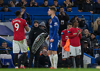 Football - 2019 / 2020 Premier League - Chelsea vs. Manchester United<br /> <br /> Odion Ighalo (Manchester United) prepares to come on as a 90th minute substitute and make his Manchester United Premiership debut at Stamford Bridge <br /> <br /> COLORSPORT/DANIEL BEARHAM