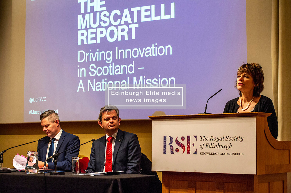 Pictured: Professor Sir Anton Muscatelli,  Finance Secretary Derek Mackay and Dame Anne Glover, President Royal Society of Edinburgh<br />