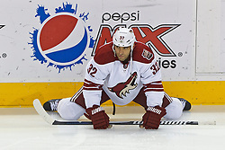 Mar 24, 2012; San Jose, CA, USA; Phoenix Coyotes defenseman Michal Rozsival (32) warms up before the game against the San Jose Sharks at HP Pavilion.  San Jose defeated Phoenix 4-3 in shootouts. Mandatory Credit: Jason O. Watson-US PRESSWIRE