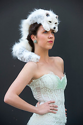 The Animal Ball..This years Animal Ball which brings the glamour and splendour of a masked soiree to the heart of London will benefit the charity Elephant Family with masks created by the likes of Christian Lacroix, Mario Testino and Swarovski. Pic Shows  Lucy Franks wearing Snow Fox by Natalie Ellner. The masks will be on show at Sotheby's until May 15th, London, UK, May 10, 2013. Photo by:  i-Images