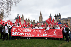 © Licensed to London News Pictures. 06/03/2019. LONDON, UK.  Len McCluskey, General Secretary of Unite, joins workers from Honda's Swindon plant during a demonstration outside the Houses of Parliament calling on MPs to save their factory from closing.  Honda recently announced that the plant will cease production in 2022 amidst uncertainty over the future post-Brexit.  Photo credit: Stephen Chung/LNP
