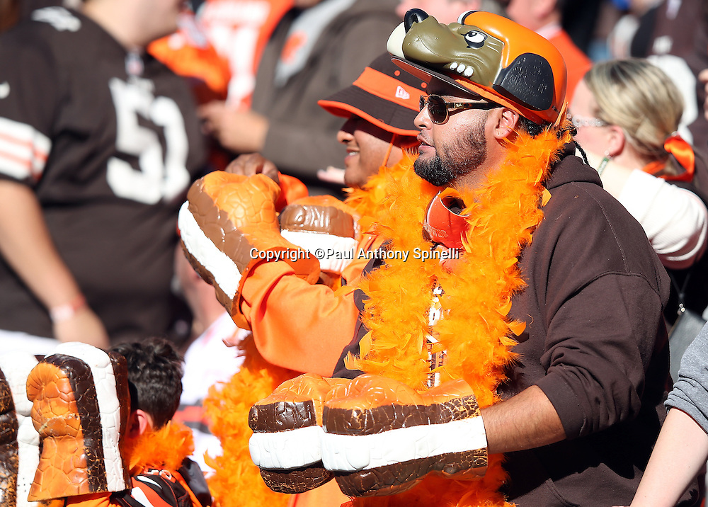 A pair of Cleveland Browns fans wear costumes as they cheer for the team during the 2015 week 8 regular season NFL football game against the Arizona Cardinals on Sunday, Nov. 1, 2015 in Cleveland. The Cardinals won the game 34-20. (©Paul Anthony Spinelli)