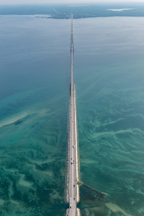 The view from high above the Mackinac Bridge