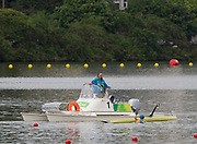Rio de Janeiro. BRAZIL.  KAZ M1X, Vladislav YAKOVLEV, capsizes, during the heats, and manages to get himself back in the boat, to finish the course.  <br />
