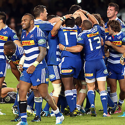 DURBAN, SOUTH AFRICA - MAY 31:  DHL Stormers players after the win over the Sharks during the Super Rugby match between Cell C Sharks and  DHL Stormers at Growthpoint Kings Park on May 31, 2014 in Durban, South Africa. (Photo by Steve Haag/Gallo Images)