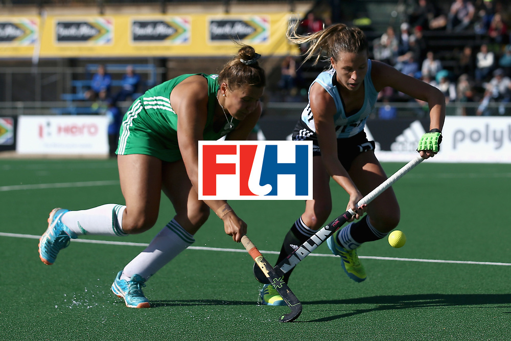 JOHANNESBURG, SOUTH AFRICA - JULY 18: Delfina Merino of Argentina and Elena Tice of Ireland battle for possession during the Quarter Final match between Argentina and Ireland during the FIH Hockey World League - Women's Semi Finals on July 18, 2017 in Johannesburg, South Africa.  (Photo by Jan Kruger/Getty Images for FIH)