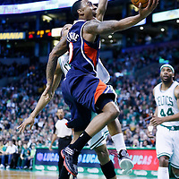 29 March 2013: Boston Celtics point guard Avery Bradley (0) goes for the layup past Boston Celtics point guard Avery Bradley (0) during the Boston Celtics 118-107 victory over the Atlanta Hawks at the TD Garden, Boston, Massachusetts, USA.