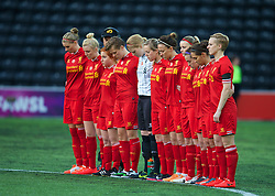 WIDNES, ENGLAND - Thursday, April 17, 2014: Liverpool Ladies players stand to remember the 96 victims of the Hillsborough Stadium disaster before the FA Women's Super League match agains Manchester City at the Halton Stadium. (Pic by David Rawcliffe/Propaganda)