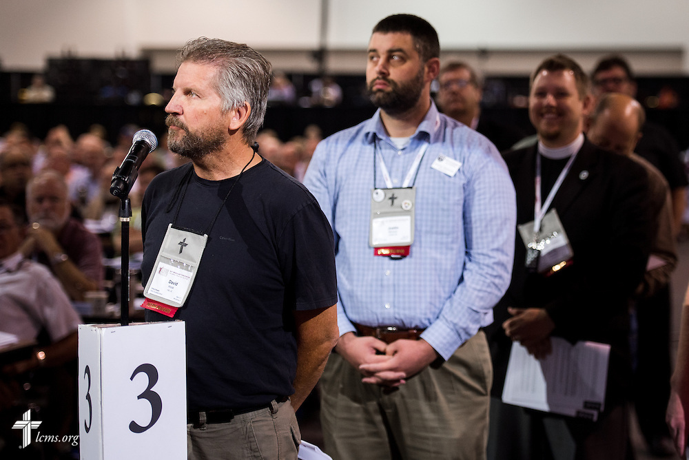 David Hook, Voting Delegate from Pacific Southwest District, heads a queue of delegates on Tuesday, July 12, 2016, at the 66th Regular Convention of The Lutheran Church–Missouri Synod, in Milwaukee. LCMS/Frank Kohn